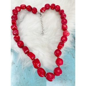 Lucas Lameth LUC 925 Red Bamboo Coral Necklace